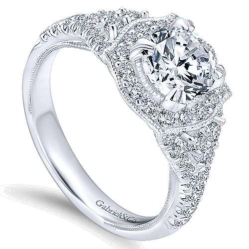 Francine 14k White Gold Round Halo Engagement Ring angle 3