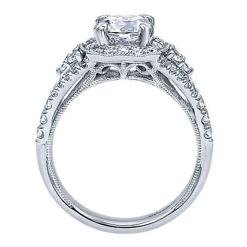 Francine 14k White Gold Round Halo Engagement Ring angle 2