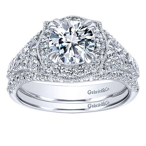Francine 14k White Gold Round Halo Engagement Ring angle 4