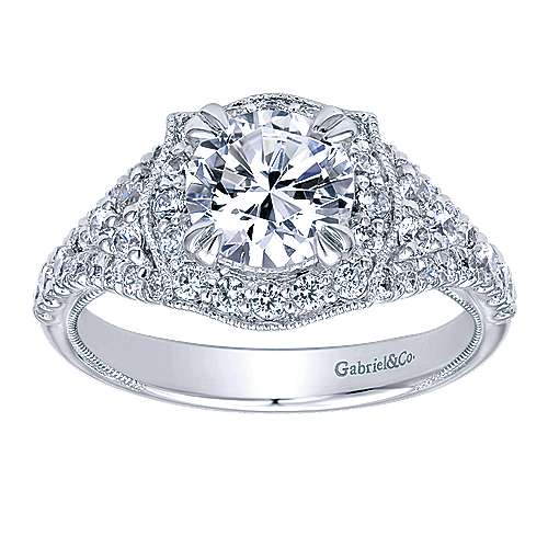 Francine 14k White Gold Round Halo Engagement Ring angle 5