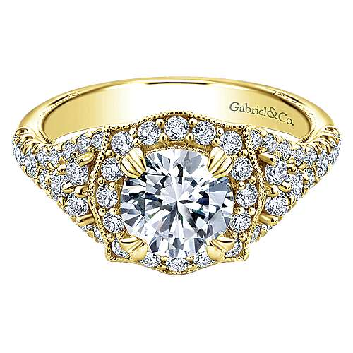 Gabriel - Francine 14k Yellow Gold Round Halo Engagement Ring
