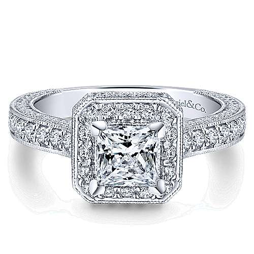 Gabriel - Frederica 14k White Gold Princess Cut Halo Engagement Ring