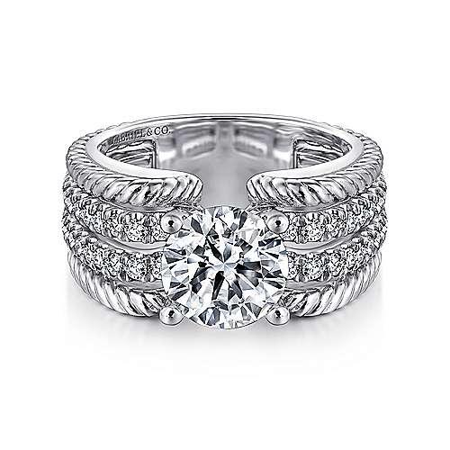 Freedom 14k White Gold Round Straight Engagement Ring angle 1