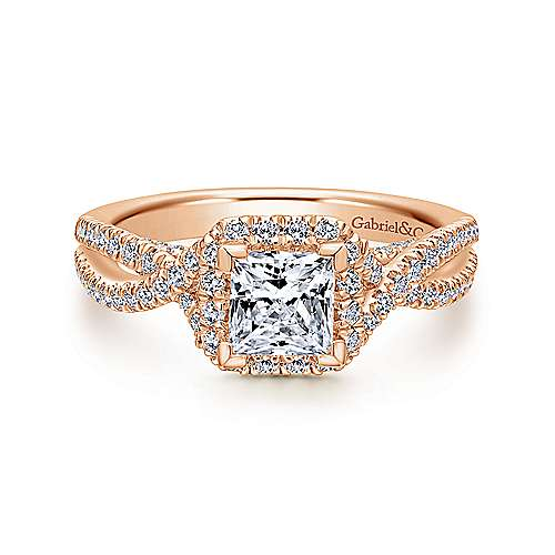 Gabriel - Freesia 14k Rose Gold Princess Cut Halo Engagement Ring
