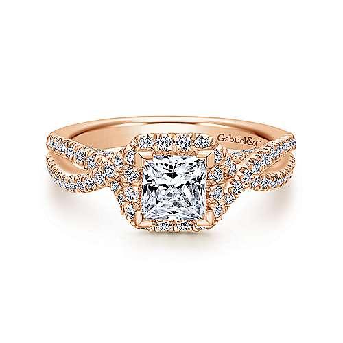 Gabriel - Freesia 14k Rose Gold Princess Cut Halo Engagement Ring