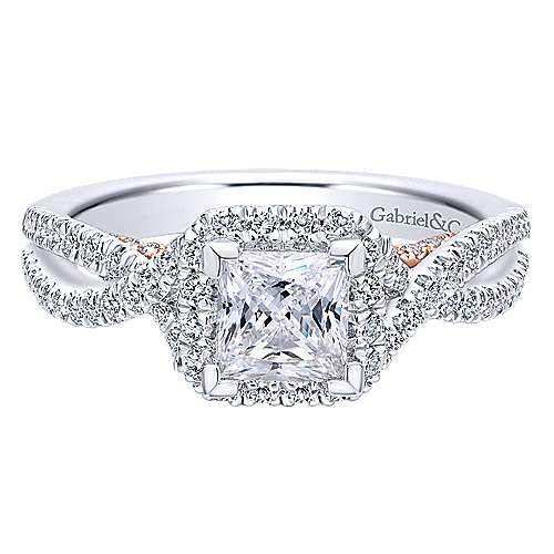 Gabriel - Freesia 14k White And Rose Gold Princess Cut Halo Engagement Ring
