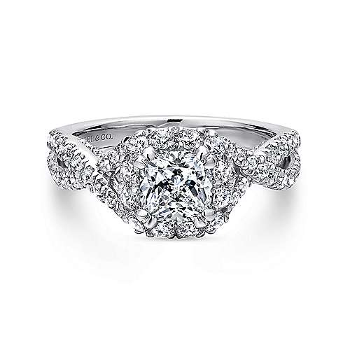 Gabriel - Freesia 14k White Gold Cushion Cut Halo Engagement Ring