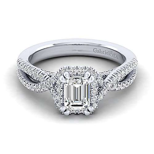 Gabriel - Freesia 14k White Gold Emerald Cut Halo Engagement Ring