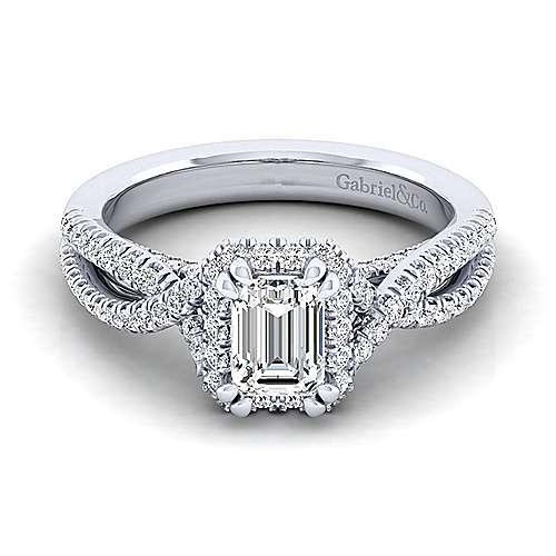 Gabriel - Freesia 14k White Gold Emerald Cut Halo Engagement Ring