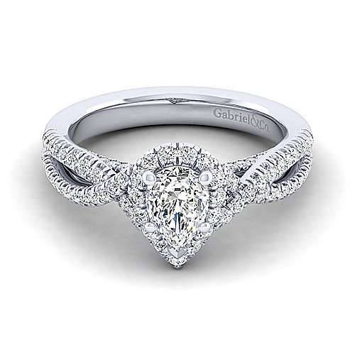 Gabriel - Freesia 14k White Gold Pear Shape Halo Engagement Ring