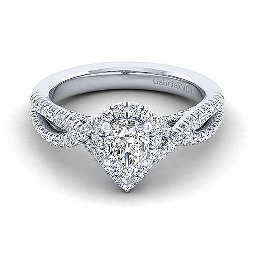 Gabriel - Freesia 14k White Gold Pear Shape Halo Engagement Ring