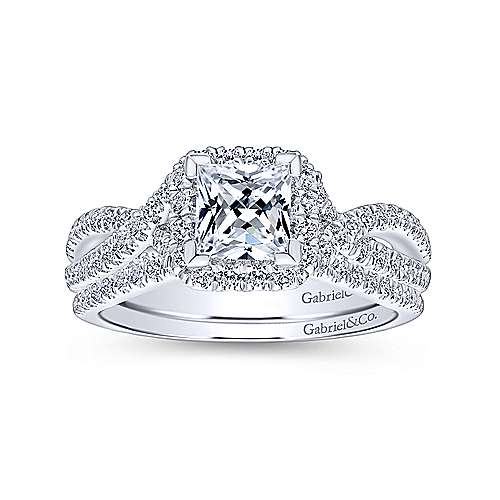 Freesia 14k White Gold Princess Cut Halo Engagement Ring angle 4