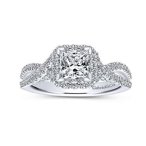 Freesia 14k White Gold Princess Cut Halo Engagement Ring angle 5