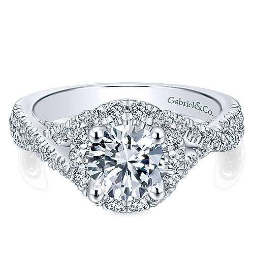 Gabriel - Freesia 14k White Gold Round Halo Engagement Ring