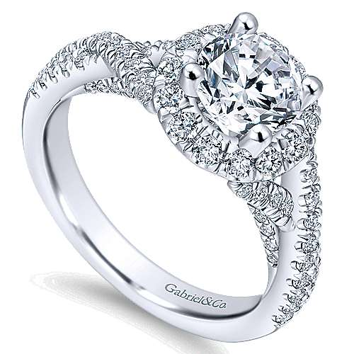 Freesia 14k White Gold Round Halo Engagement Ring angle 3