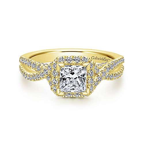 Gabriel - Freesia 14k Yellow Gold Princess Cut Halo Engagement Ring