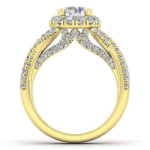 Freesia 14k Yellow Gold Round Halo Engagement Ring angle 2
