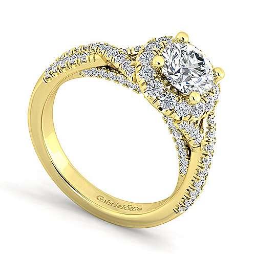 Freesia 14k Yellow Gold Round Halo Engagement Ring angle 3