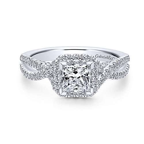 Gabriel - Freesia 18k White Gold Princess Cut Halo Engagement Ring
