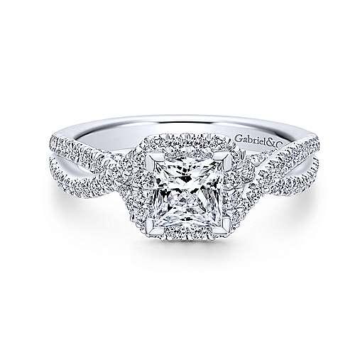 Gabriel - Freesia 18k White Gold Princess Cut Halo Engagement Ring