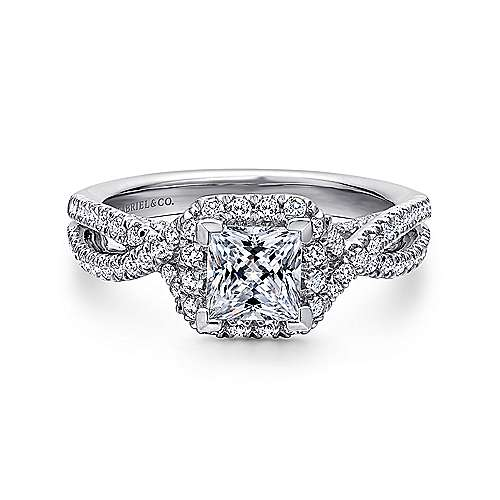 Gabriel - Freesia Platinum Princess Cut Halo Engagement Ring