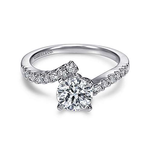 Freya 14k White Gold Round Bypass Engagement Ring angle 1