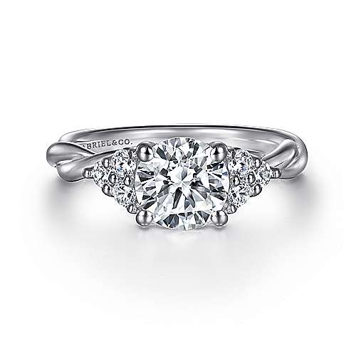 Frida 14k White Gold Round Twisted Engagement Ring angle 1