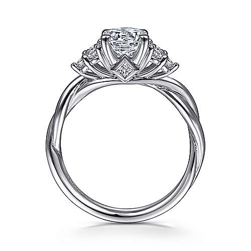 Frida 14k White Gold Round Twisted Engagement Ring angle 2