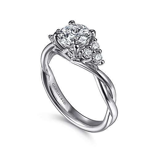 Frida 14k White Gold Round Twisted Engagement Ring angle 3