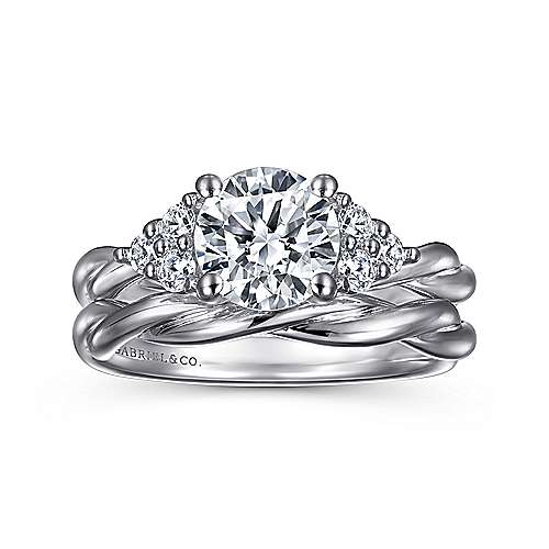 Frida 14k White Gold Round Twisted Engagement Ring angle 4