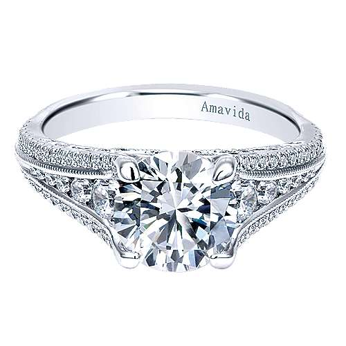 Frost 18k White Gold Round Straight Engagement Ring