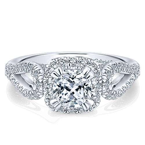 Gabriel - Fuschia 14k White Gold Cushion Cut Halo Engagement Ring