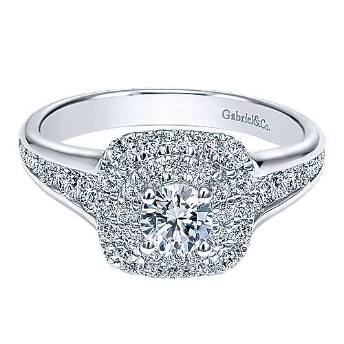 Gabriel - Gail 14k White Gold Round Double Halo Engagement Ring