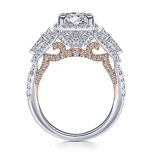 Galbi 18k White And Rose Gold Round Halo Engagement Ring angle 2