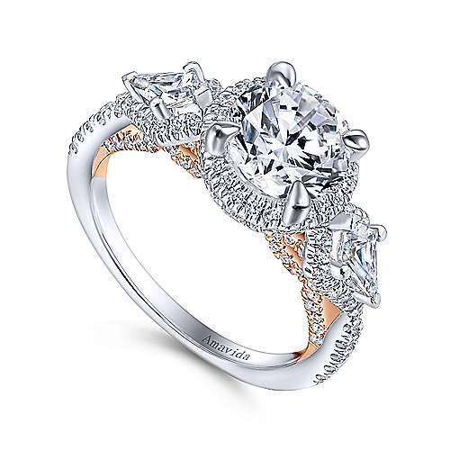 Galbi 18k White And Rose Gold Round Halo Engagement Ring angle 3