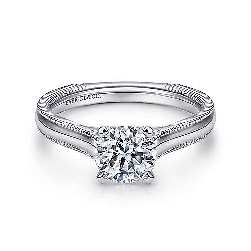 Gabriel - Gale 14k White Gold Round Solitaire Engagement Ring