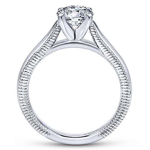 Gale 14k White Gold Round Solitaire Engagement Ring angle 2