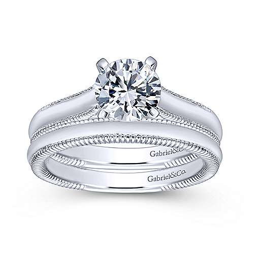 Gale 14k White Gold Round Solitaire Engagement Ring