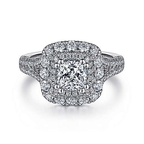 Gardenia 14k White Gold Cushion Cut Double Halo Engagement Ring angle 1