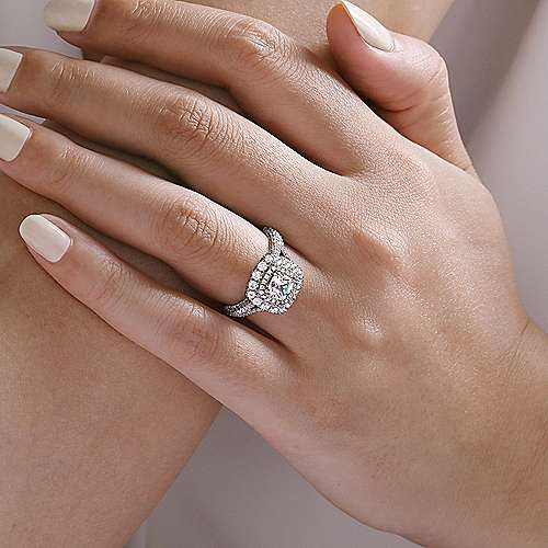 Gardenia 14k White Gold Cushion Cut Double Halo Engagement Ring angle 6