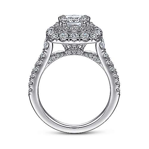 Gardenia 14k White Gold Cushion Cut Halo Engagement Ring angle 2