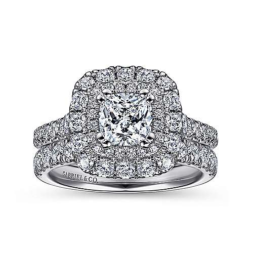 Gardenia 14k White Gold Cushion Cut Halo Engagement Ring angle 4