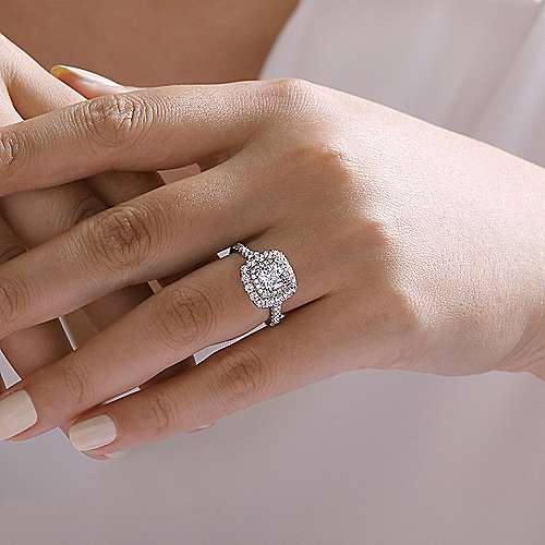 Gardenia 14k White Gold Cushion Cut Halo Engagement Ring angle 6