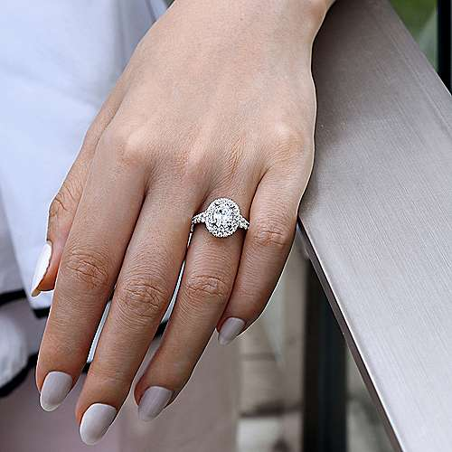 Gardenia 14k White Gold Oval Double Halo Engagement Ring angle 6