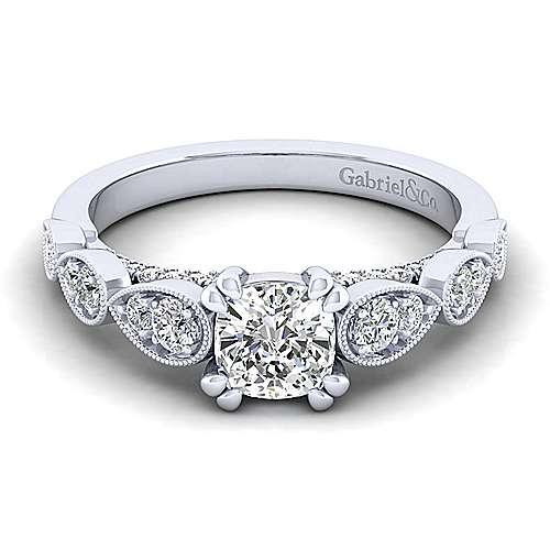 Gabriel - Garland 14k White Gold Cushion Cut Straight Engagement Ring