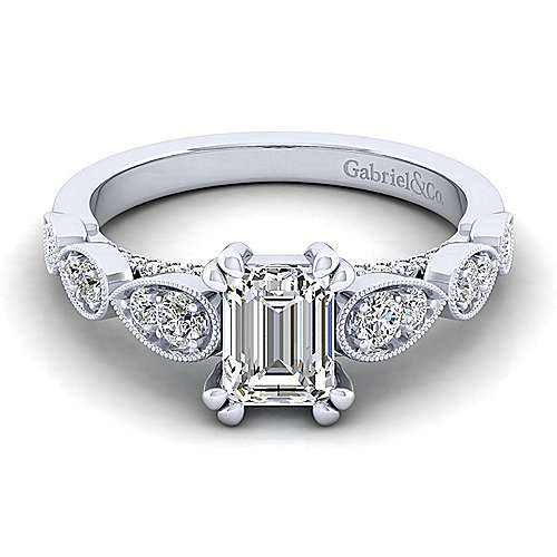 Gabriel - Garland 14k White Gold Emerald Cut Straight Engagement Ring