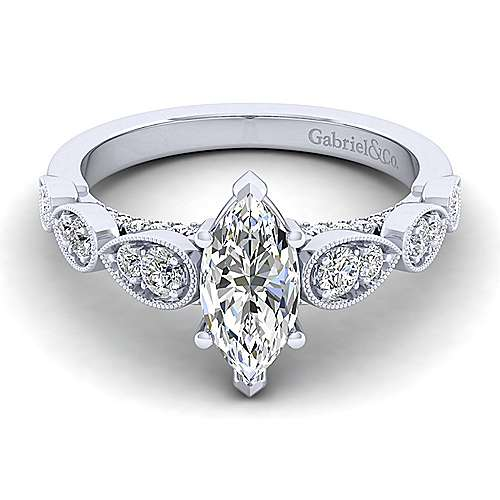 Gabriel - Garland 14k White Gold Marquise  Straight Engagement Ring