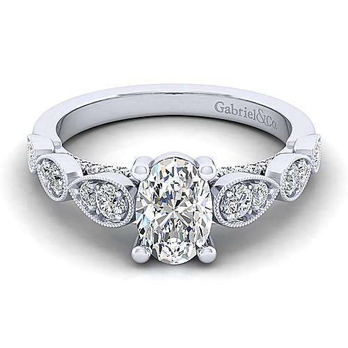Gabriel - Garland 14k White Gold Oval Straight Engagement Ring