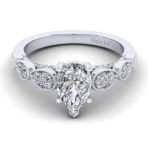 Gabriel - Garland 14k White Gold Pear Shape Straight Engagement Ring