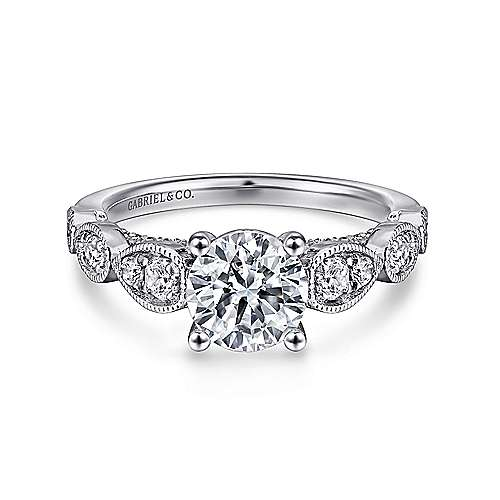 Gabriel - Garland 14k White Gold Round Straight Engagement Ring